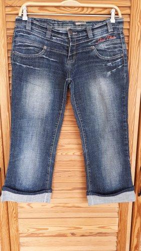 Jeans a 3/4 blu acciaio