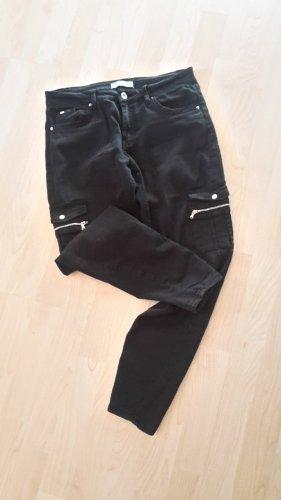 Bershka 3/4 Length Trousers black cotton