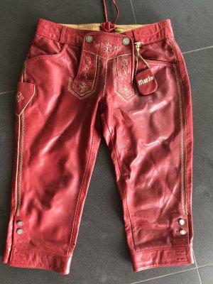 MarJo Pantalón de cuero tradicional rojo ladrillo
