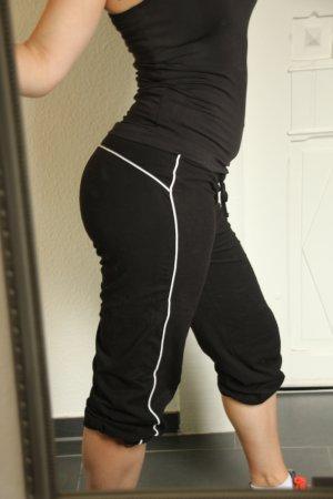 3/4 Sportpant Fitnesshose Short schwarz weiß Gr. S