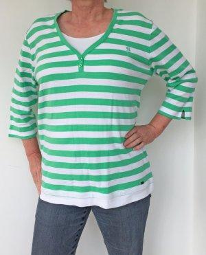 3/4 T-Shirt grün-weiß gestreift von Navigazione, Gr. XXL