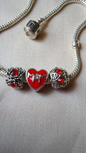 3 Charms Beads rot Zirkonia , Mom rot emailliert .