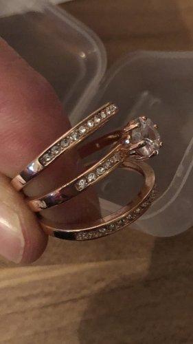 3-er Set Ringe gr 18/57 Rose Gold Farbe