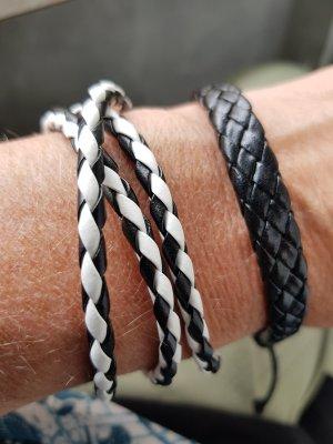 Bracelet en cuir blanc-noir