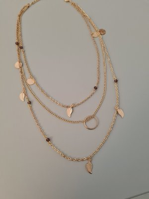 Zdobiony naszyjnik złoto-szaro-liliowy