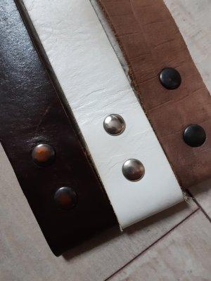 3 Ledergürtel für wechselbare Gürtelschnallen, hell + dunkelbraun +weiß, Größe 80