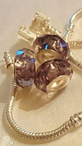3 Murano Glas Beads Charm -geschliffen -Lila mit Sterlingsilber 925 Hülsen