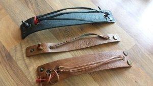 Leather Bracelet black-cognac-coloured