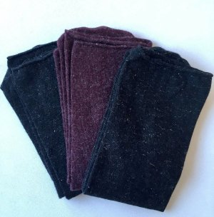 3 Paar Kaschmir-Socken | Schwarz & Bordeaux | mit Glitzer