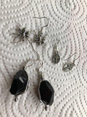 Orecchino a pendente nero-argento