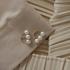 Pearl Earring white-gold-colored metal