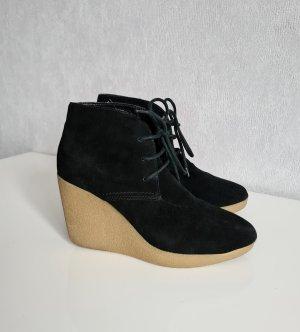 3 suisses Echtleder Wedges Ankle Boots Stiefelette Schnürstiefele Schwarz 37