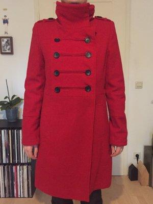 3 Suisses Płaszcz zimowy ciemnoczerwony-czarny Wełna