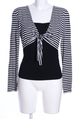 3 Suisses Stripe Shirt white-black striped pattern casual look