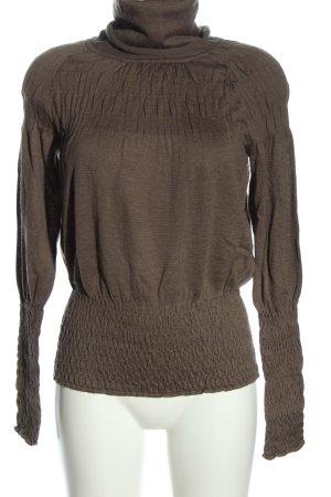 3 Suisses Sweter z golfem brązowy Warkoczowy wzór W stylu casual