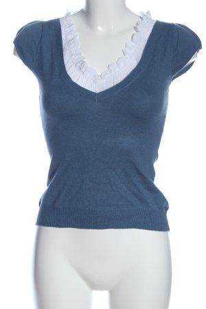 3 Suisses Schlupf-Bluse blau-weiß Casual-Look
