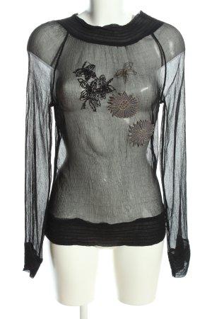 3 Suisses Blusa transparente negro-gris claro look casual