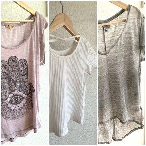 3 T-Shirts in weiß, grau und fliederfarben mit Muster
