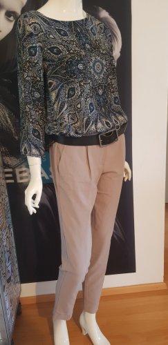 3 Teile outfit  Tom.tailor hose taupe beige baggy mit zugband  ledergürtel designer rinascimento seiden bluse