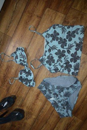 3 teiliger Bikini Gr. M grau schwarz blau