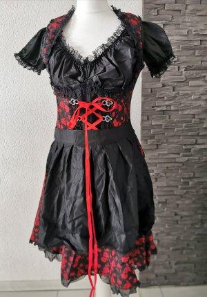 3.tlg. Dirndl Bluse Schürze Jacquard-Stoff Unterbrustdirndl Trachtenkleid Spitze Tracht Kleid