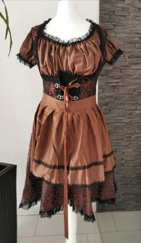 3.tlg. Mini Dirndl Bluse Schürze Jacquard-Stoff Unterbrustdirndl Trachtenkleid Spitze Tracht Kleid