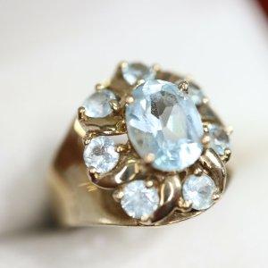 333 Gold Ring aqua blau Juwelierstück