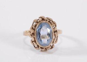 333 Gold Ring aquamarin Steinbesatz 8k Goldring Juwelierstück Meisterpunze