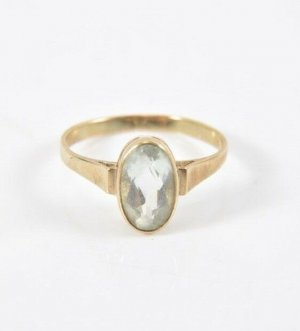 333 Gold Ring Stein aqua blau 8kt goldring Meisterpunze