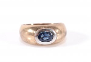 333 Gold Ring Topas blau 8k Goldring Gemstone Topaz modern weissgold bicolor classic