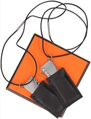 Hermès Necklace black-silver-colored leather