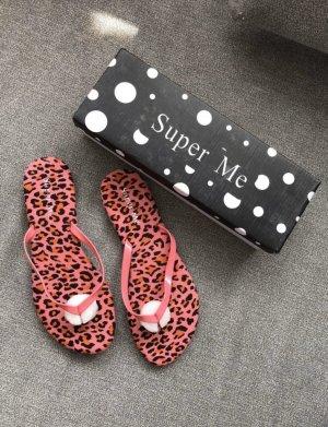 36 flip flops in pink schwarz mit rillsohle