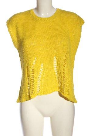 360 Sweater Canotta all'uncinetto giallo pallido stile casual