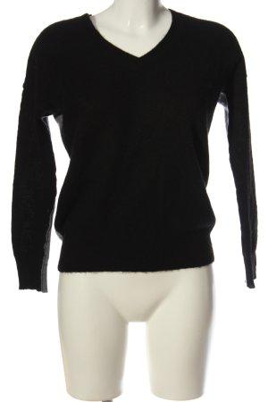 360Cashmere Kasjmier trui zwart-lichtgrijs gestippeld casual uitstraling