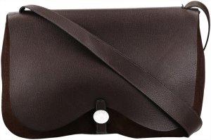 36893 Hermès Colorado Handtasche aus Leder und Textil in dunklem Braun