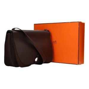 36893 Hermès Colorado Handtasche - Tasche aus Leder und Textil in dunklem braun