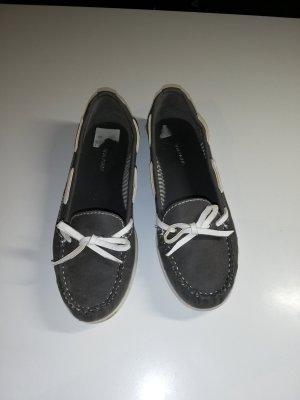 37 Schuhe Mokassins Graceland dunkelgrau weiß