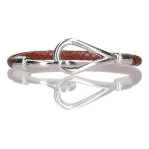 Hermès Pulsera marrón-color plata Cuero