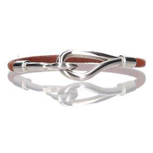 37064 Hermès Jumbo Simple Tour Armband aus Leder in den Farben Braun & Palladium