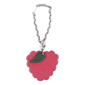 37363 Hermès Taschenschmuck - Anhänger - Schlüsselanhänger aus Leder Motiv Himbeere