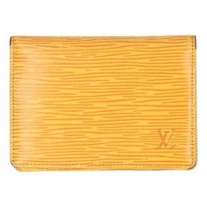 37432 Louis Vuitton Porte Deux Cartes Vertical Kartenetui aus Epi Leder in Tassil Gelb