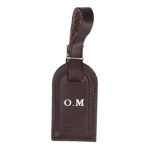 37449 Louis Vuitton Adressanhänger mit eingeprägten Initialen aus Rindsleder in dunkelbraun