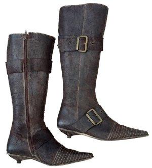 38 39 STIEFEL boots braun Wildleder echt Leder used Optik KOWALSKI Spain