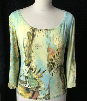 38 40 ROBERTO CAVALLI (L) shirt Pulli ¾ Ärmel gelb grün bunt gold