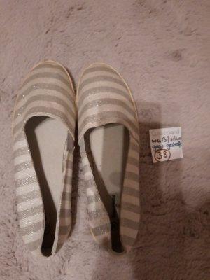 38 Schuhe weiß grau Silber gestreift