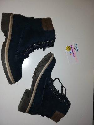 38 Stiefel Schuhe dunkelblau braun highland creek
