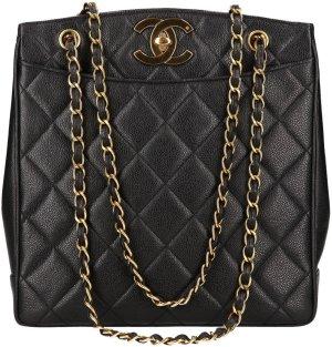 38081 Chanel CC Handtasche, Tasche  aus genarbtem Kalbsleder in Schwarz und Gold