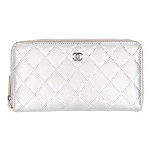 38660 Chanel Brieftasche aus Leder in Silber