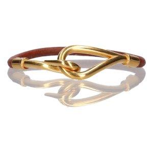 Hermès Pulsera marrón-color oro Cuero