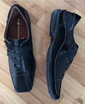 39 5,5 HUSH PUPPIES Sneakers Schuhe echt Leder schwarz Klettverschluss